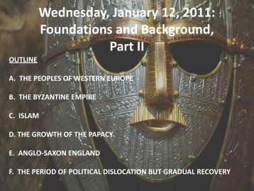 Wednesday, January 12, 2011: Foundations and Background, Part II