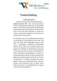 Pressemitteilung - VR Bank eG, Niebüll