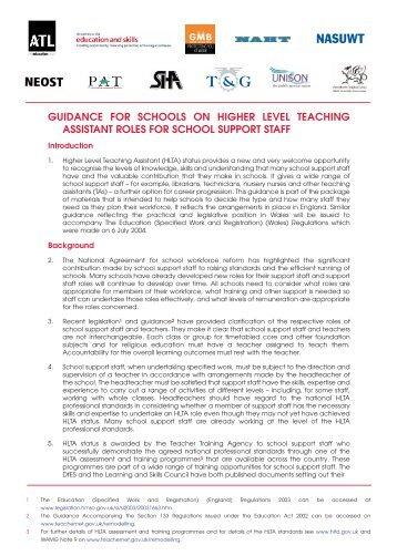 Job Description for Higher Level Teaching Assistant Grade: Points ...