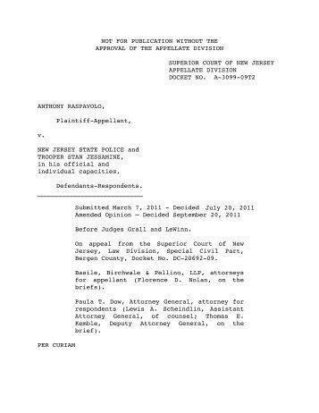 Raspavolo v. New Jersey State Police - Appellate Law NJ Blog
