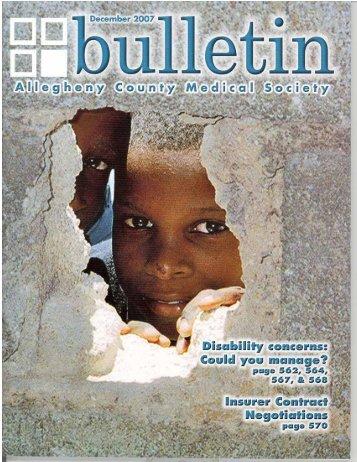 December 2007 Bulletin - Allegheny County Medical Society