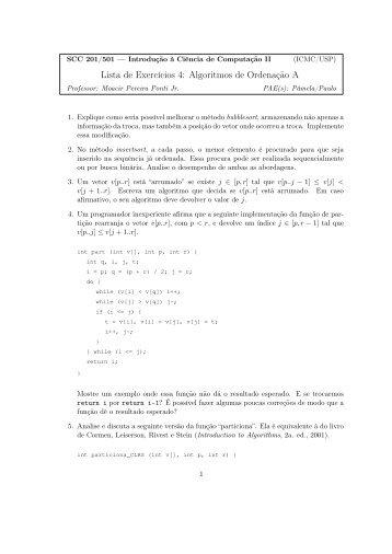 Lista de Exercícios 4: Algoritmos de Ordenação A - USP
