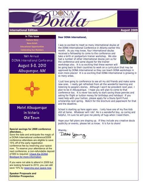International Edition August 2009 - DONA International