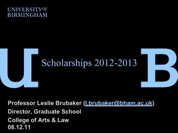 Scholarshipmeeting2012 - University of Birmingham