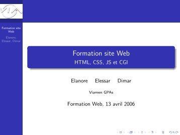Formation site Web - HTML, CSS, JS et CGI