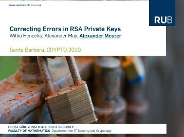 Correcting Errors in RSA Private Keys