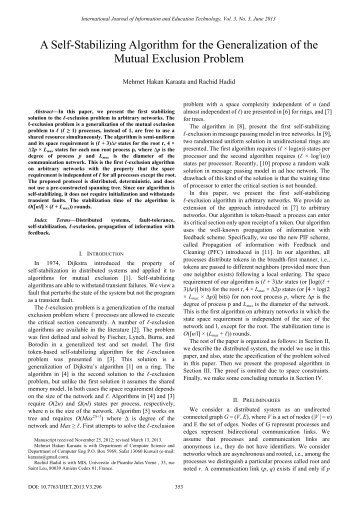 A Self-Stabilizing Algorithm for the Generalization of the Mutual ... - ijiet