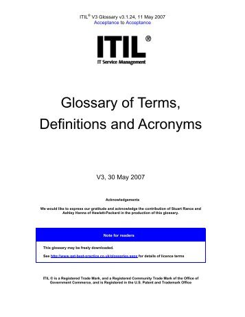 ITIL V3 Glossary of Terms and Acronyms - Best Management Practice