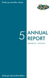 5th ANNUAL REPORT (2002) - Centre for Nonviolent Action