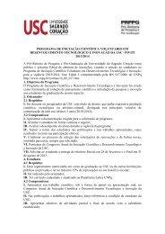 PROGRAMA DE INICIAÇÃO CIENTÍFICA VOLUNTARIO EM ... - USC
