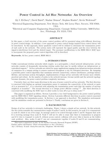 Power Control in Ad Hoc Networks: An Overview - Electrical ...