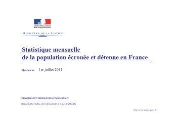 Statistique mensuelle de la population écrouée et détenue en France