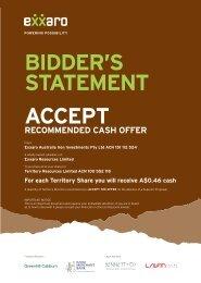 BIDDER'S STATEMENT ACCEPT - Exxaro