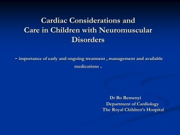 Cardiac Considerations and Care in Children - Muscular Dystrophy ...
