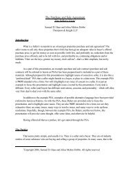 Purchase and Sale Agreement The Sellers View - Thompson ...