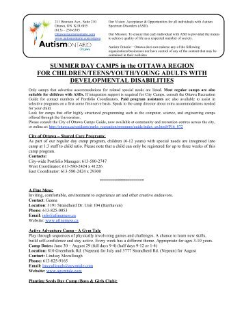 SUMMER DAY CAMPS in the OTTAWA REGION ... - Autism Ontario