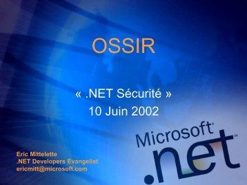 .NET Security - OSSIR