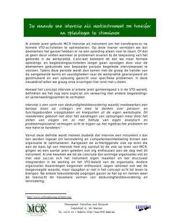 Nieuwsbrief Intervisie als werkinstrument voor het ... - Mcr Bvba
