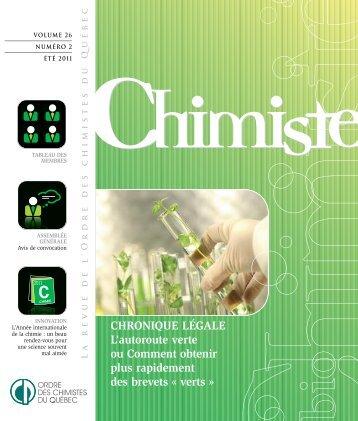 Revue Chimiste Été 2011 - Ordre des chimistes du Québec