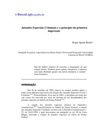 Juizados Especiais Criminais e o princípio da primeira ... - BuscaLegis