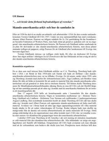 Skando-amerikanska arkiv och hur de samlades in (Världen i källaren)