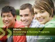 Alberta Scholarship & Bursary Programs 2010/2011 - Enterprise and ...