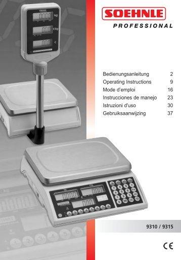 9310 / 9315 Bedienungsanleitung 2 Operating Instructions 9 Mode d ...