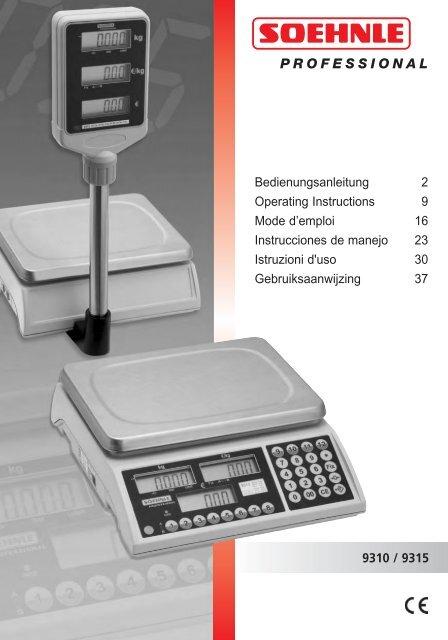 9310 9315 Bedienungsanleitung 2 Operating Instructions 9 Mode D