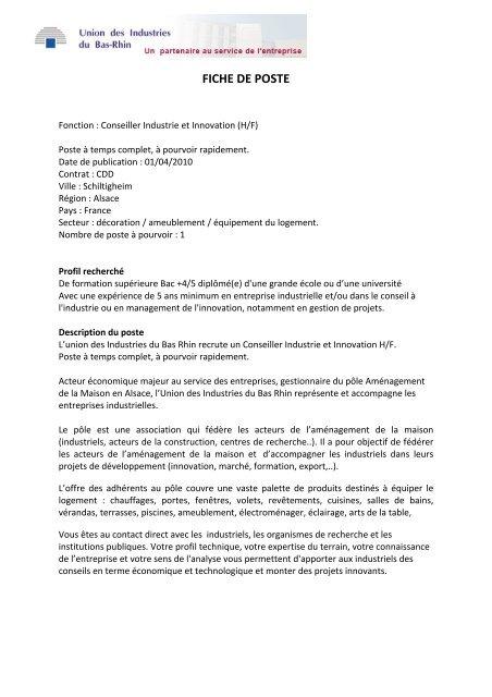 Fiche De Poste Conseiller Industrie France Clusters