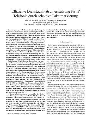 Effiziente Dienstqualitätsunterst¨utzung f¨ur IP ... - Henning Sanneck