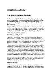 IDS-Netz will weiter wachsen - IDS Logistik GmbH