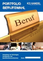 PORTFOLIO BERUFSWAHL - Integrierte Gesamtschule Kandel