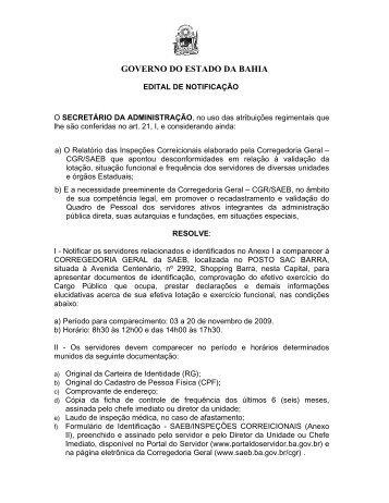 Edital, Anexo I - Governo da Bahia