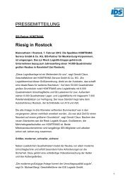 PM IDS-Partner HOMTRANS riesig in Rostock - IDS Logistik GmbH