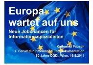Neue Jobchancen für Informationsspezialisten - ÖGDI