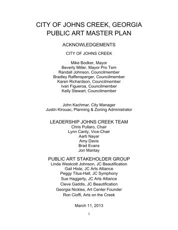 City of Johns Creek Public Art Master Plan