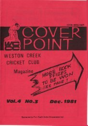 VOL a NO. 3 Dee. 1981 - Weston Creek Cricket Club