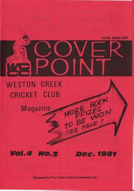 VOL a NO. 3 Dee. 1981 - Weston Creek Cricket Club
