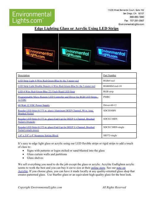Edge Lighting Glass or Acrylic Using LED Strips - LED Lighting
