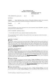 Nature Publishing Group Addendum to License Agreement ...