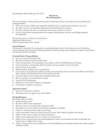 head cook job description