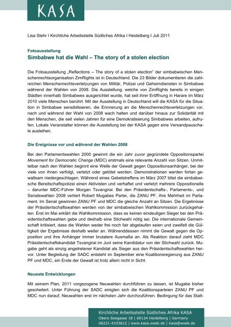 Simbabwe hat die Wahl – The story of a stolen election