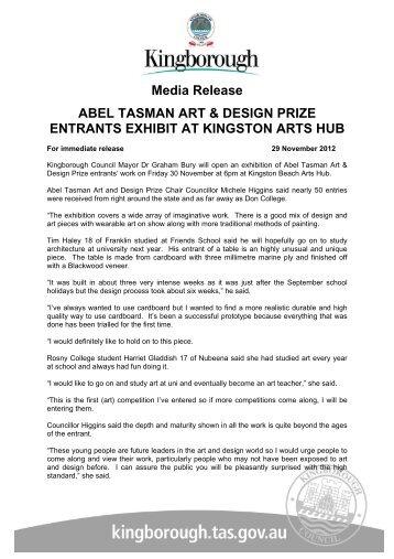 Media Release ABEL TASMAN ART & DESIGN PRIZE ENTRANTS ...