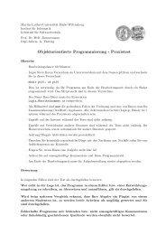 Objektorientierte Programmierung - Praxistest - Institut für Informatik