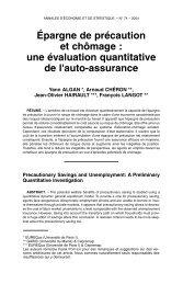 Épargne de précaution et chômage : une évaluation quantitative de l ...