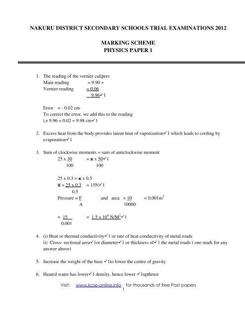 2012 nakuru district mock physics ms paper 1 pdf - KCSE Online