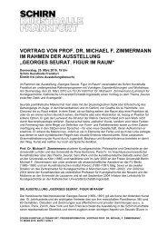VORTRAG VON PROF. DR. MICHAEL F. ZIMMERMANN IM - Schirn