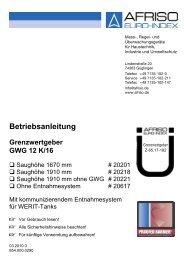 Grenzwertgeber GWG 12 K/16 - Werit Kunststoffwerke W. Schneider ...