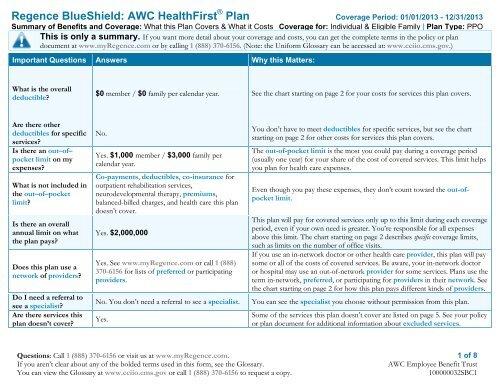 Regence Blueshield Summary Of Benefits Lott Clean Water