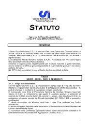lo statuto del centro sportivo italiano - CSI Bologna